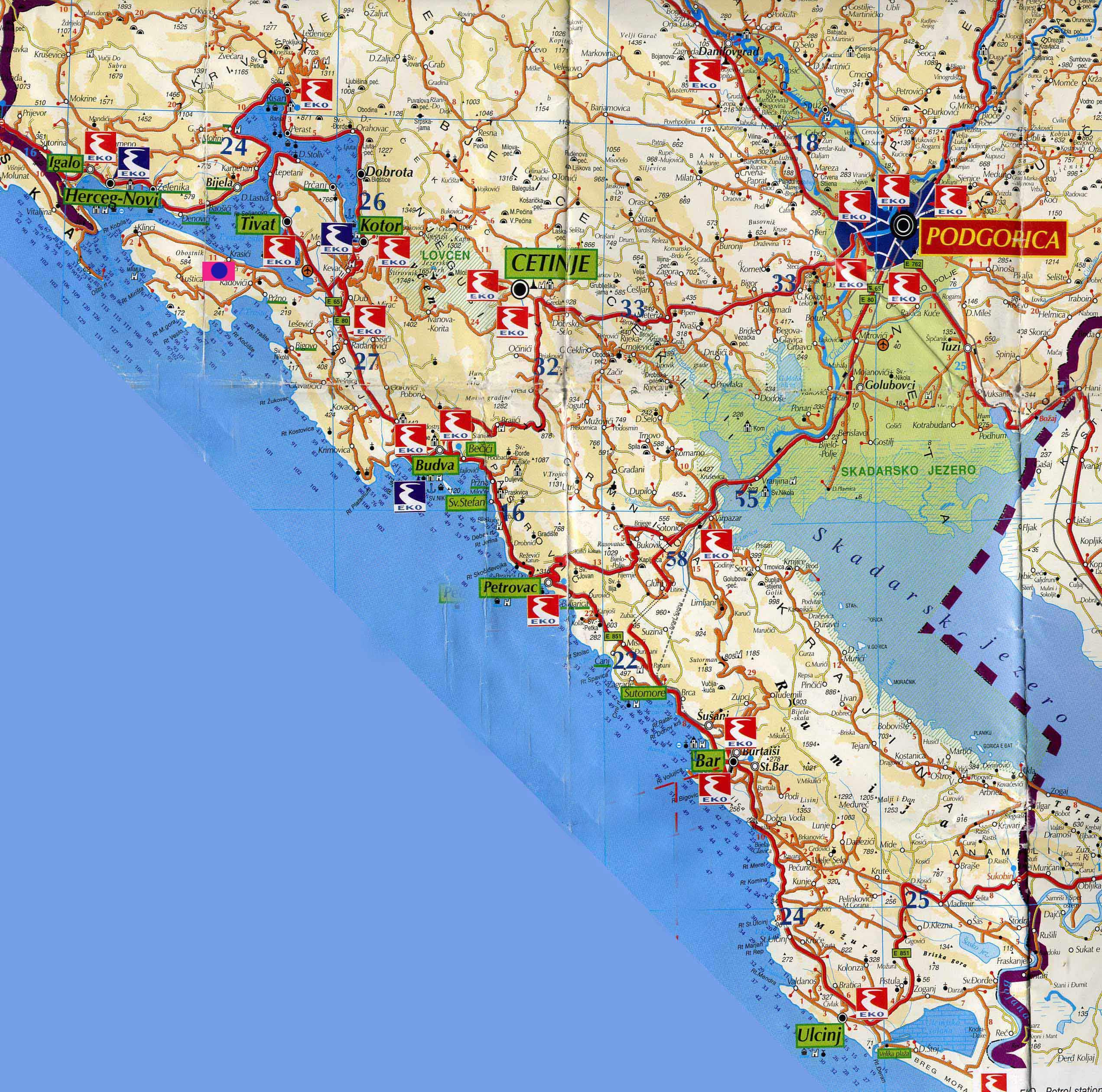 Черногория на карте мира на русском языке